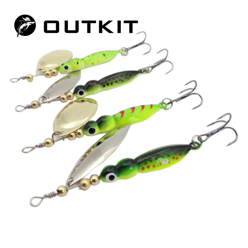OUTKIT Spinner Bait Mepps 1PC 4 Color Fishing Lure Bass Hard Baits Spoon With Treble Hook Tackle High Quality Long Shot 1 pc high quality double bass bow 3 4 baroque bass bow snake wood