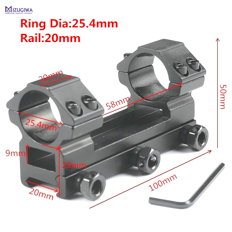 MIZUGIWA Heavy Duty One Piece Flat Top 25.4mm Dual Rings Rifle Scope Mount Picatiiny Dovetail Adapter 20mm Weaver Rail
