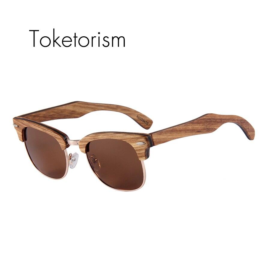 9d53fd9d3b Toketorism cumpleaños regalo de gafas de sol de madera de los hombres  polarizado mujeres medio-Marco restaurar antiguas formas de madera occhiali  da suela ...