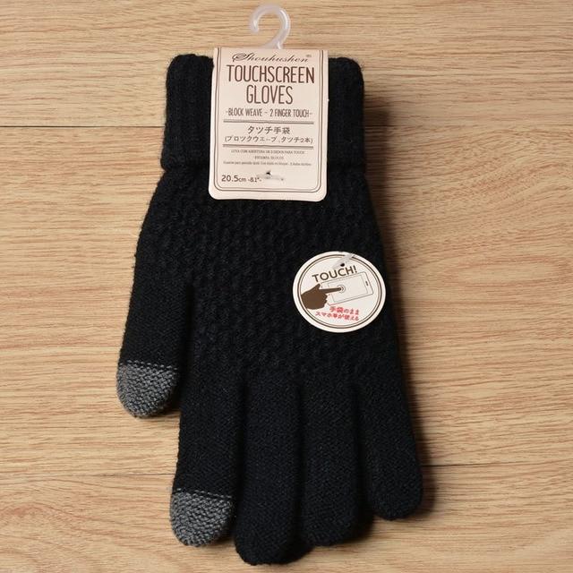 Winter Touch Screen Gloves Women Men Warm Stretch Knit Mittens Imitation Wool Full Finger Guantes Crochet Luvas