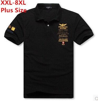 XXL-8XL Плюс Размер Марка Твердые Рубашки Поло Мужчин Вздох Хлопок Фитнес Ввс Италии Поло Мужчин Черный (XXL XXXL 4XL 5XL 6XL 7XL 8XL)