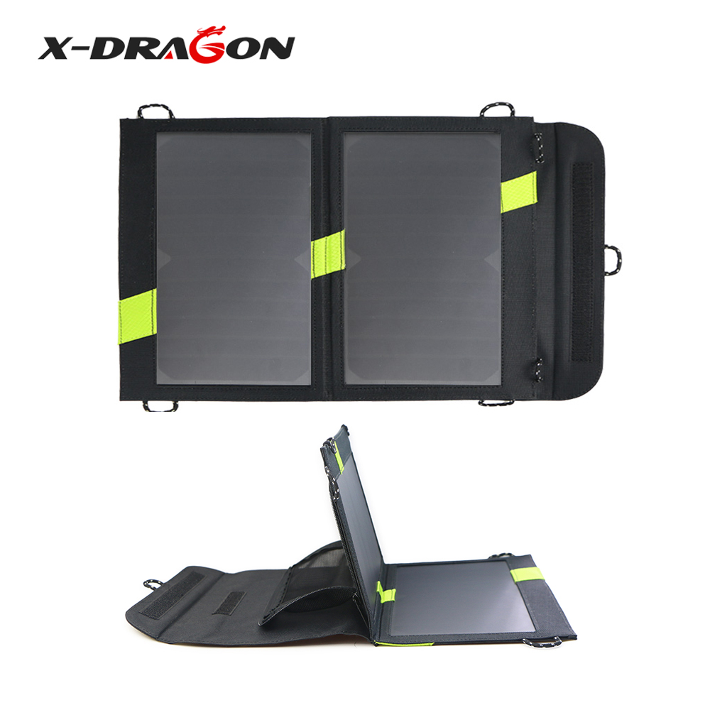 X-DRAGON 5V14W Solar Panels Portable Folding Waterproof Solar Panel for iPhone iPad Samsung HTC Sony OnePlus Huawei and more.