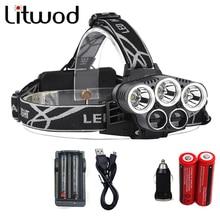 Litwod Z302309A 15000lm Led Head Lamp 3T6+2LST Alu-alloy Body Headlamp Headlight 6 Mode Head Light 18650+USB+Charge+MINI Car