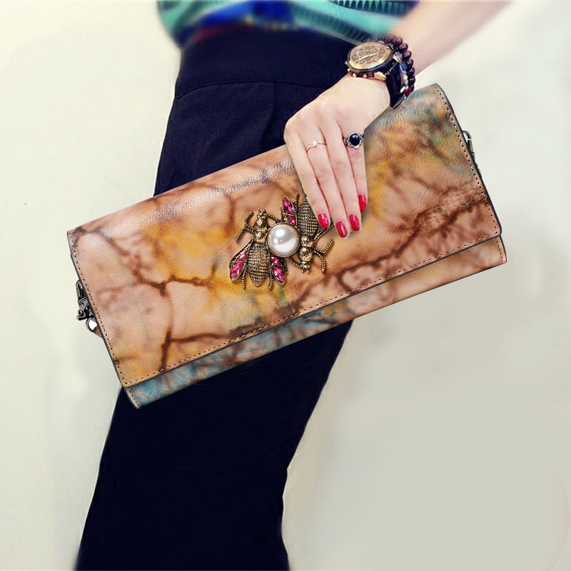 Vintage Hand Bag Little Bee Diamonds Purse Genuine Leather Women Evening Clutches Envelope Shoulder Hand Clutch Crossbody Bag vintage serpentine genuine leather woman clutches evening bag crossbody chain shoulder bag handbag clutch wallet lady long purse