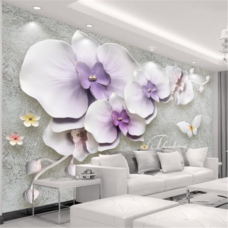 Large Stereo Living Room Wall Picture Custom 3 d Photo Wallpaper Europe Modern Flower Wallpaper TV Background Purple Wall Mural quality purple flower pattern removeable decorative background wall sticker