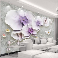Large Stereo Living Room Wall Picture Custom 3 d Photo Wallpaper Europe Modern Flower Wallpaper TV Background Purple Wall Mural