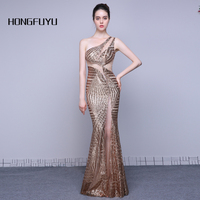 New Formal Evening Dresses Long Sexy One Shoulder Mermaid Party Gowns Sequined Prom Dresses Long vestido de festa Real Photos