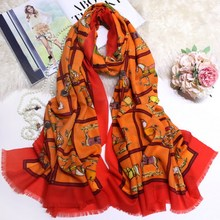 Horses Scarf Women Pashmina Pure Cashmere Scarves Winter Soft Girl Shawls Wraps 200*100cm Brand Design