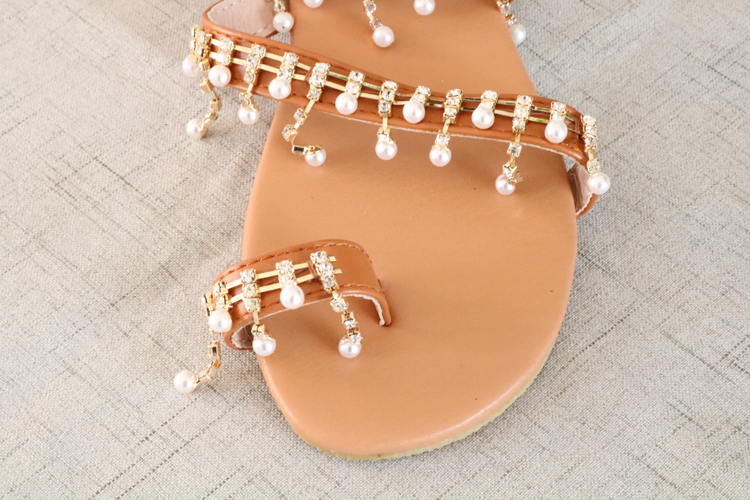 HTB1Tx7TaIrrK1RjSspaq6AREXXa8 Women sandals summer shoes flat pearl sandals comfortable string bead slippers women casual sandals size 34 43