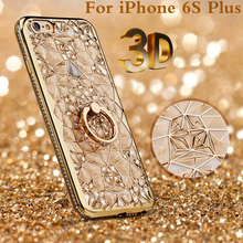 6plus Luxury 3D Crystal Flower 24K Gold plating Phone Case for iPhone 6 6S plus Diamond Ring holder soft TPU Shockproof Cover