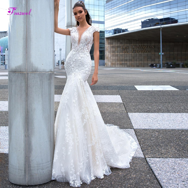 Fsuzwel Romantic Deep V-neck Backless Lace Mermaid Wedding Dresses 2019 Luxury Beaded Appliques Court Train Bride Gown Plus Size