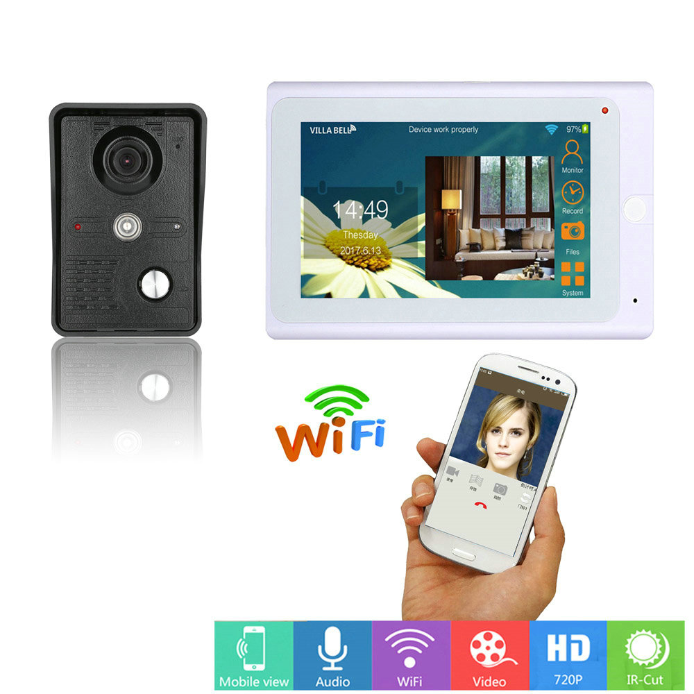 7inch Wired Wifi IP Video Door Phone Doorbell Intercom Entry System With IR-CUT HD 1000TVL Camera With Recording Function
