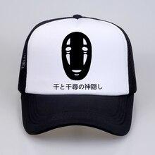 Japanese Style Spirited Away Letters Print Baseball caps Cotton Man Women hat Faceless Harajuku Summer Mesh Cap