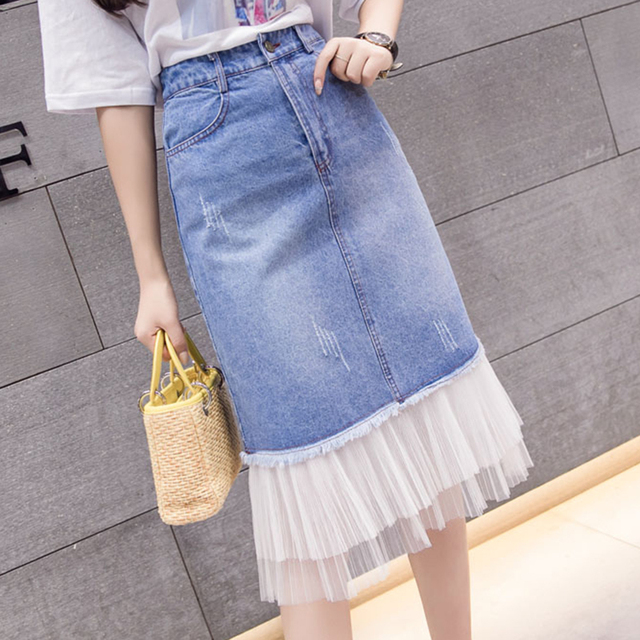 a72b60249773a US $15.97 6% OFF|Patchwork Denim Tulle Skirt Women Plus Size High Waist  Skirts Summer Vintage Jean Skirt Ladies Saia Midi Faldas Mujer Moda-in  Skirts ...