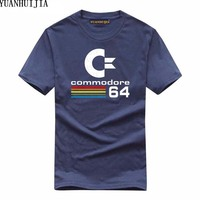 YUANHUIJIA Commodore 64 Lovers Summer New High Quality Brand Tide Flame Cotton Round Neck Short Sleeve