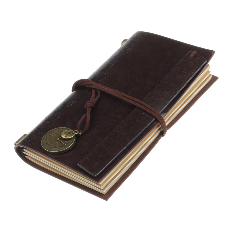 где купить Retro Classic Vintage Leather Bound Blank Pages Journal Daily Diary Notebook coffee дешево