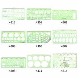 9 различных линейки зеленый пластик круги геометрический Шаблон Линейка трафарет измерительный инструмент студентов