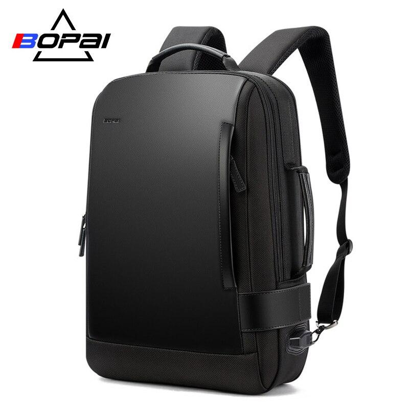 BOPAI Размеры расширенное рюкзак Для мужчин ноутбук рюкзак 15,6 дюймов водоотталкивающая Для мужчин школьная сумка-рюкзак USB зарядка Back Pack