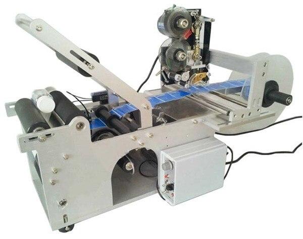 Zwei In Einem Semi Automatische Runde Flasche Label Applikator mit Datum Druckmaschine