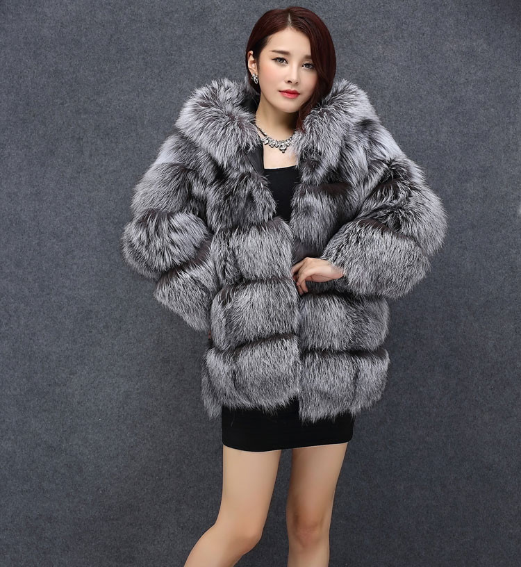 656608356 100% Real Fox Fur Coats for Women 2017 Winter Warm thick Hooded Jacket  Silver Fox Pelts Natural Fur Outwear For Women BF C0487-in Real Fur from  Women's ...