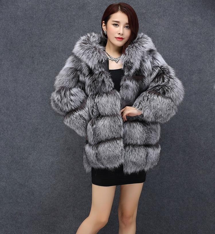 Real Fur Coats for Women Winter Warm Silver Fox Fur Coat Real Fur ...