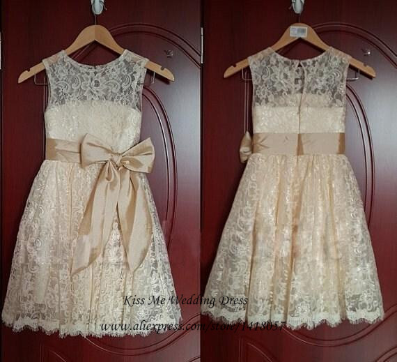 Champagne Lace   Flower     Girl     Dresses   for Weddings Real Photo Bow   Girls   Junior Bridesmaid   Dress   Kids Prom   Dresses   2015