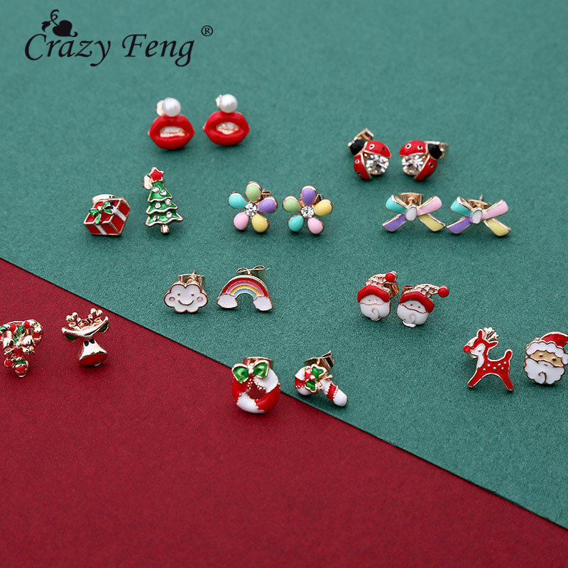 Crazy Feng Charm Christams Stud Earrings For Women Men Cute Santa Claus XMAS Christmas Tree Ear Party Jewelry Gifts