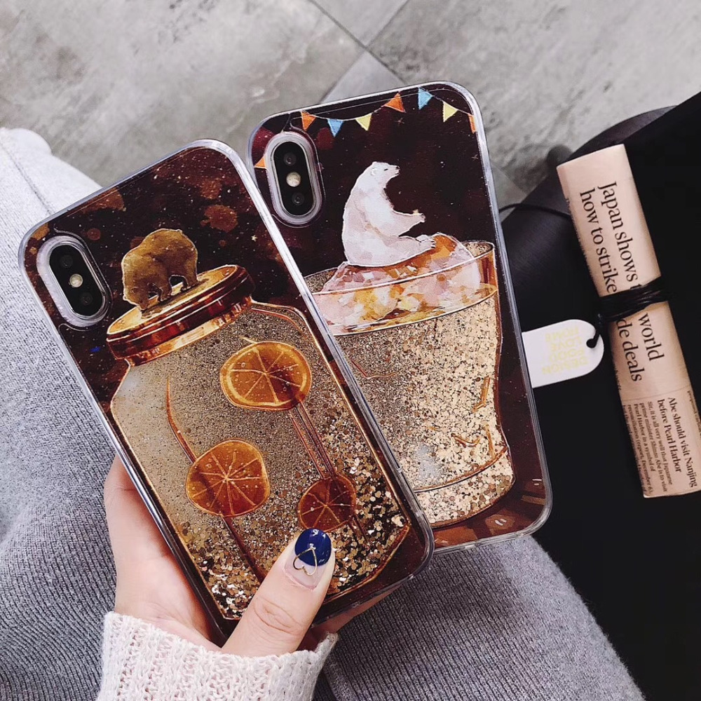 Half-wrapped Case Phone Bags & Cases Herecase Liquid Case For Iphone X Polar Bear Coffee Cup Lemon Tea Bottle Tpu Bling Cover For Iphone 6 6s 7 8 Plus Quicksand Shel To Ensure A Like-New Appearance Indefinably