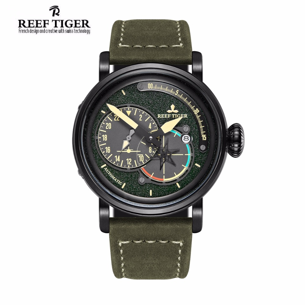Reef Tiger/RT Black Steel Military Watches for Men Genuine Leather Strap Automatic Pilot Watch with Date RGA3019