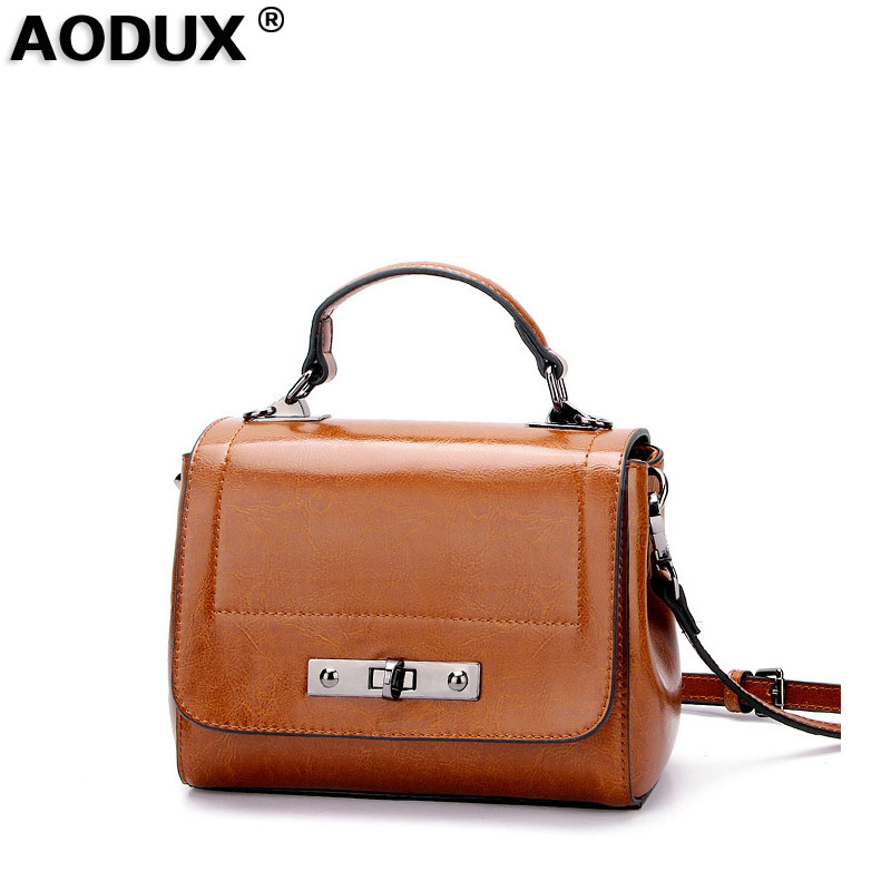 AODUX Fashion 2018 Small Genuine Leather Women's Messenger Shoulder Bags Ladies Oil Wax Cow Leather Tote Female Designer Bag zency summer genuine oil wax cow leather women ladies backpack cowhide designer korean style fashion ladies girl bag mochila