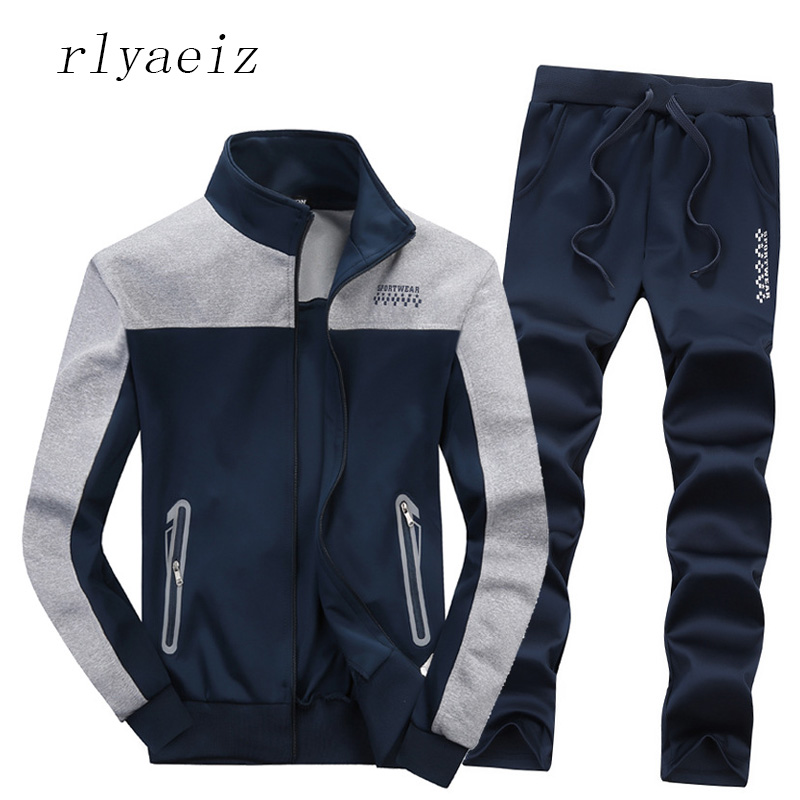 Rlyaeiz Men's Tracksuit Sets 2017 Spring Autumn Casual Sportswear Patchwork Color Zipper Hoodies + Pants Sporting Suits Man XXXL