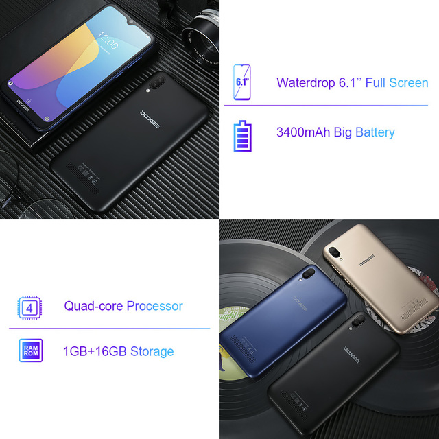 DOOGEE X90 Cellphone 6.1inch 19:9 Waterdrop LTPS Screen Smartphone Quad Core 16GB ROM 3400mAh Dual SIM 8MP+5MP WCDMA Android Go