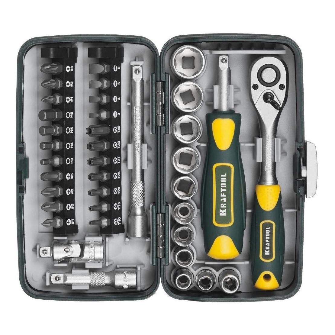 Hand tool set KRAFTOOL 27970-H38 (38 items. Bits ratchet wrench, socket head 1/4 ) цена