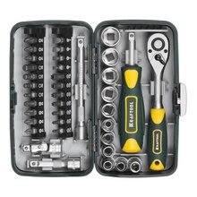 Набор ручного инструмента KRAFTOOL 27970-H38 (Количество предметов в наборе - 38 штук - биты, трещотка, торцевые головки 1/4