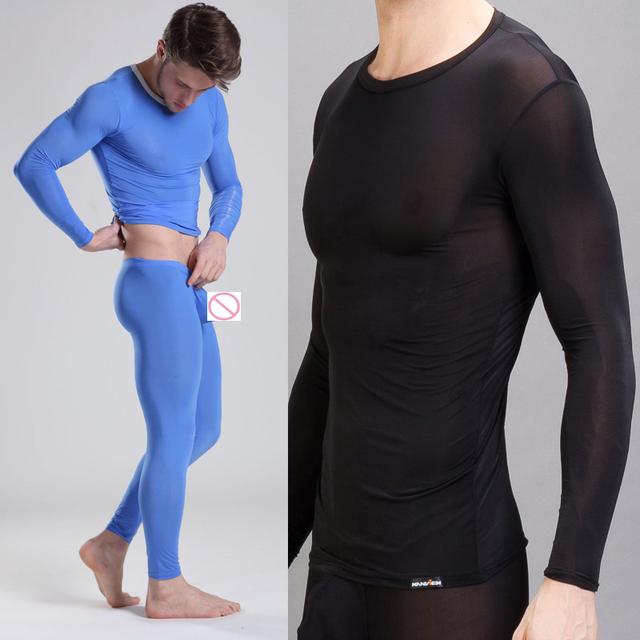 1 Unidades 2015 invierno hombre Ropa Interior Térmica sexy Long Johns Hombres de seda de hielo transparente ropa de Dormir Suave Pantalones Pantalones Calientes