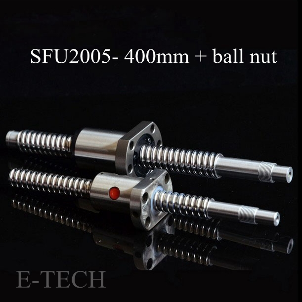 2pcs/lot! 20mm Dia Ball screw SFU2005 set : ballscrew SFU2005 L400mm+SFU2005 Ball Nut Without End Machined hot sale 6pcs set gold rose shaped makeup brushes foundation powder make up brushes blush brush set pincel maquiagem