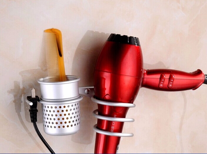 Wholesale and retail stain chrome finished aluminum alloy hair dryer holder with cup bathroom accessories wholesale motorcycle aluminum alloy