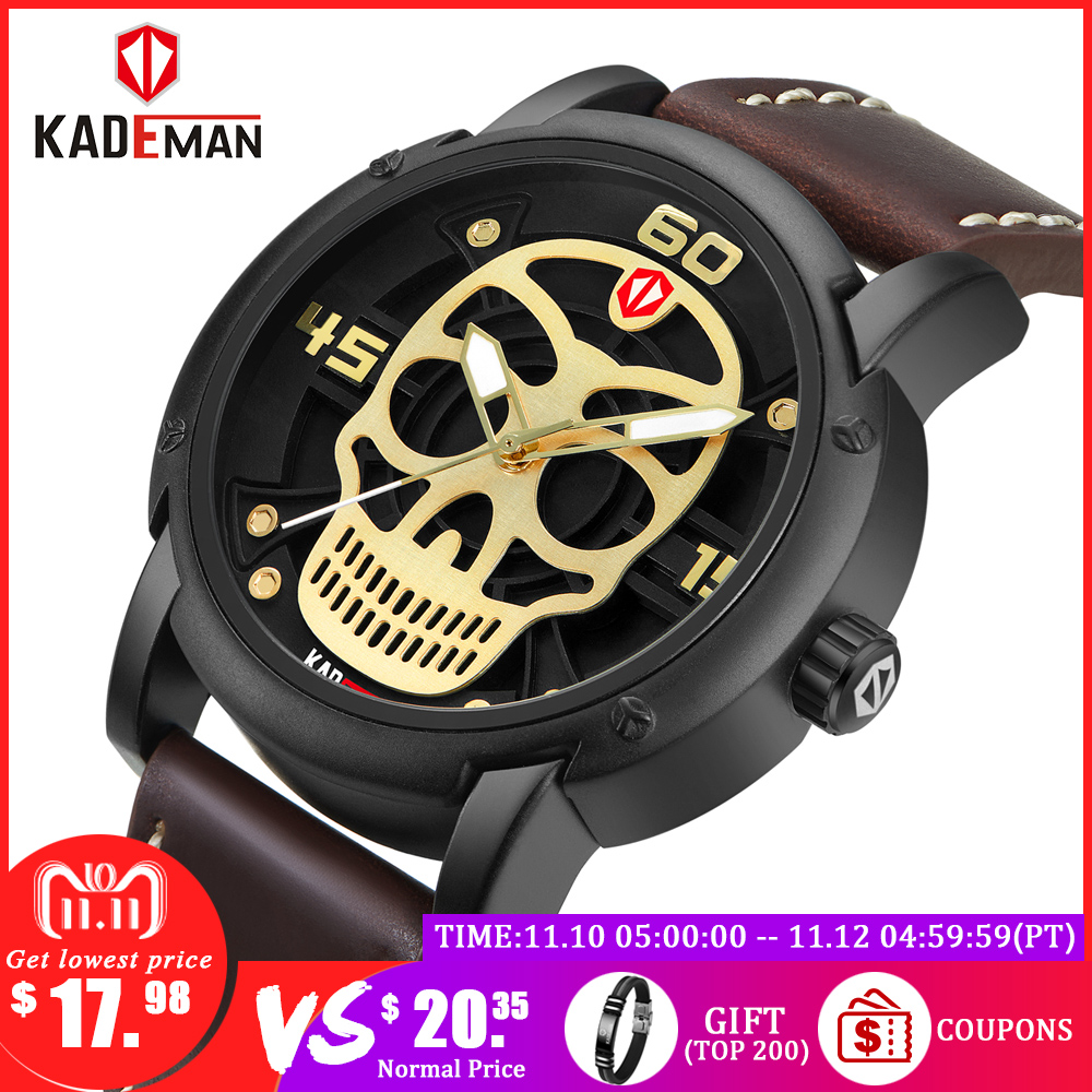 KADEMAN Fashion Mens Watches Men Skull Men Antique Sports Leather watch Military Wristwatch Waterproof Relogio Masculino