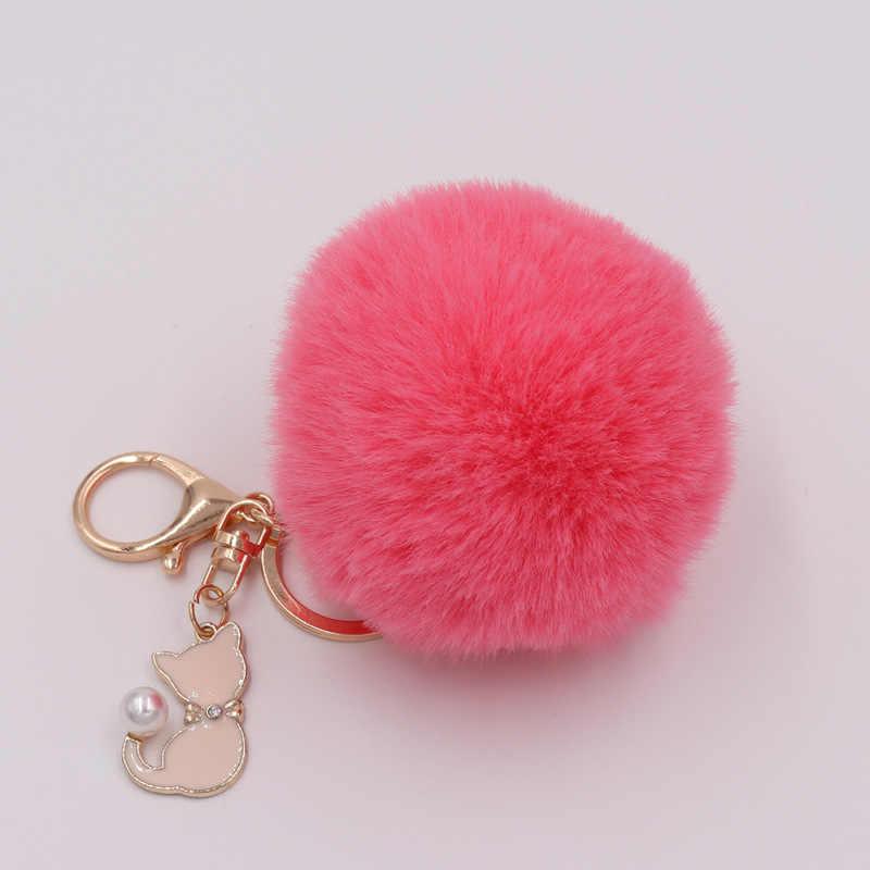 Rosa bonito Do Gato De Pele Pompom Pompom Bola De Pêlo Falso Fofo Da Corrente Chave Keychain Saco Chaveiro Encantos Anel Chave Llaveros Chaveiros