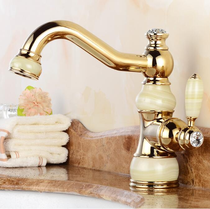 Free Shipping Brass Jade Body Torneira Cozinha With Marble Basin Faucet Single Handle Gold Finish Basin Sink Mixers Water Taps