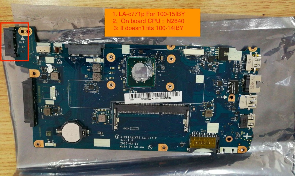 все цены на working perfectly AIVP1/AIVP2 LA-C771P mainboard For Lenovo 100-15IBY Laptop Motherboard with pentium N2840 on board cpu онлайн
