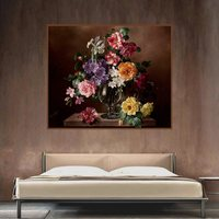 Classical Retro Handpainted Art Print Picture Flowers Bonsai Oil Canvas Painting For Home Decorative Wall Art