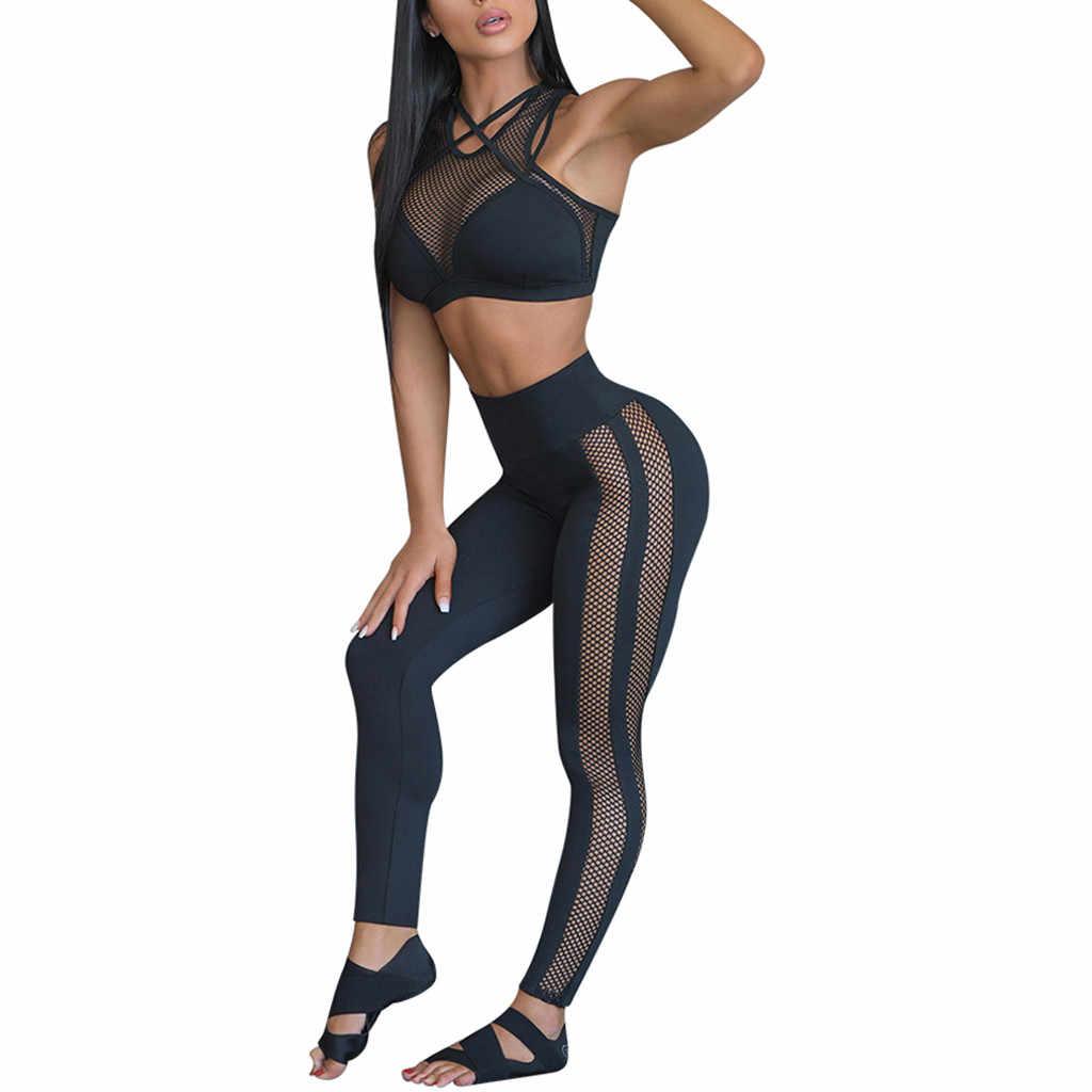 Conjunto Yoga Esporte Leggins Mulheres Moda Perspectiva Das Mulheres de Fitness Yoga Bermudas Colete Esporte Conjunto De Fitness Tops Elásticos Calças c619