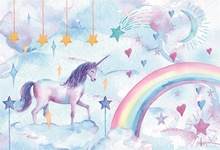 Laeacco Unicorn Rainbow Painting Baby Children Birthday Party Photography Background Customized  Backdrops For Photo Studio