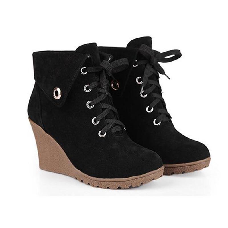 Resorte Tacones 2017 Tamaño Zapatos Del Mujer Encaje verde Mujeres 39 marrón 35 Gamuza Militar Botas Casual Invierno Up Negro Femenino Cuña qEE7xrw