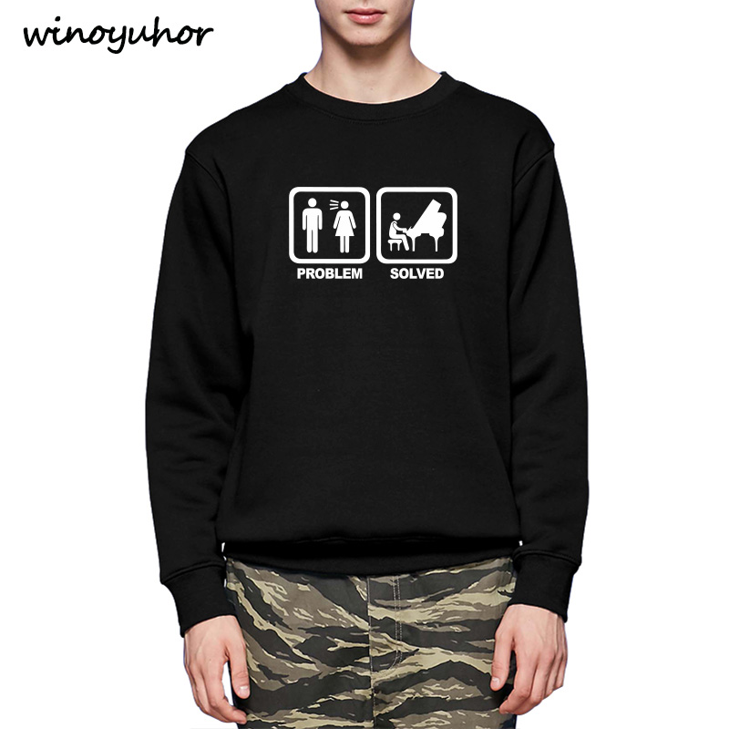 Piano Problem Solved Funny Printed Hoodies Men High Quality Winter Male Fleece Sweatshirts Piano Lover Birthday Gift Tops
