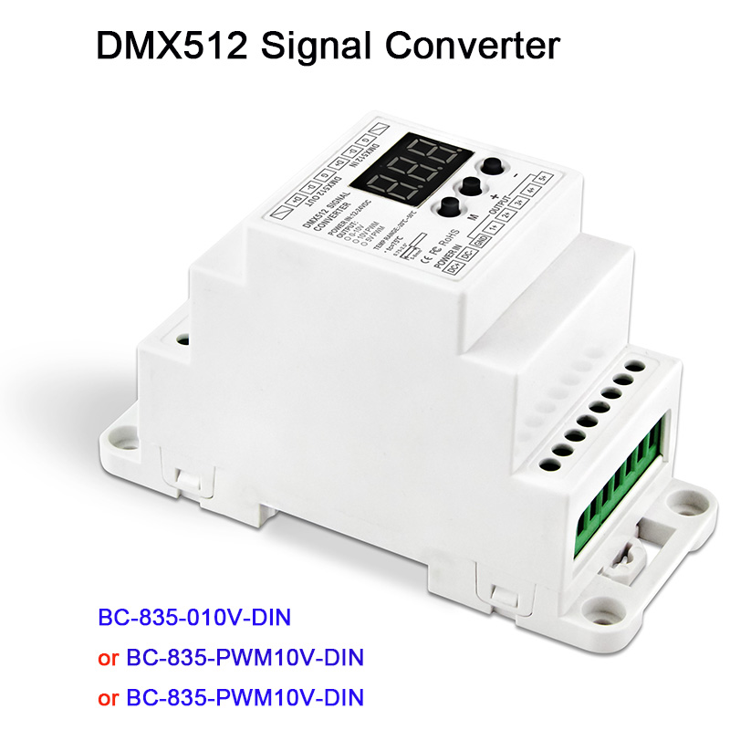 DC12V 24V 5CH led Din Rail DMX512/1990 signal to 0-10V or PWM 10V 5V signal converter DMX512 controller,BC-835-010V-DIN pwm 0 10v digital to analog signal tranformer converter module mach3 plc