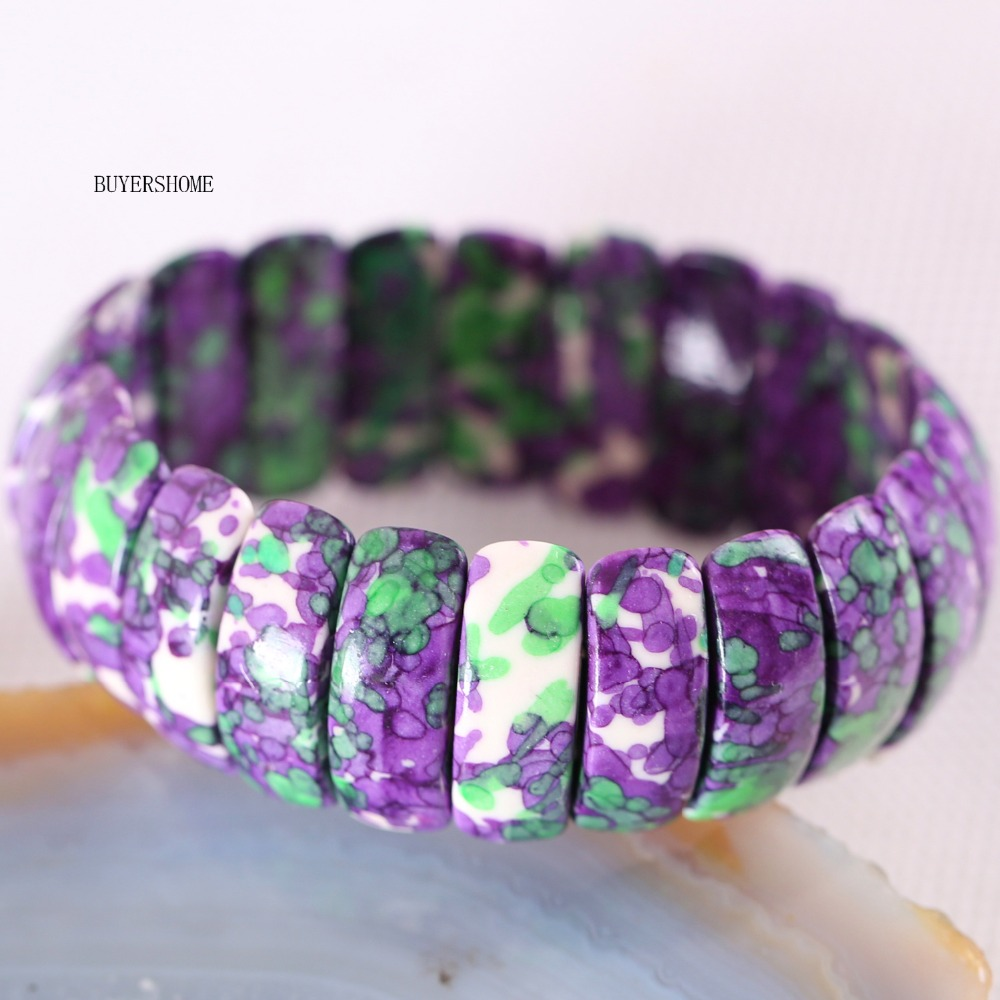 Free Shipping Women Jewelry Stretch Natural Beads Purple with Green Ocean Stone Bracelet 7″ 1Pcs H930