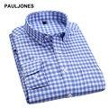 2017 мужская Оксфорд рубашки Плед Полосатый Рубашка с длинным рукавом на пуговицах повседневная Регулярный Fit бизнес рубашки мужчины весна осень