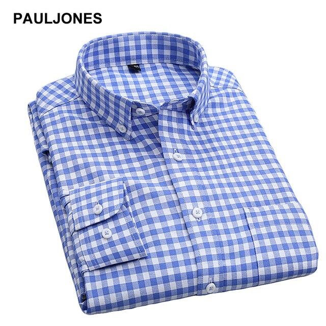 2017 dos homens camisas Oxford Xadrez Vestido Listrado Camisa de manga  longa Botão para baixo casual 39c5e4b98685d